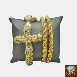 Real 10k Gold Nugget Jesus Crucifix Cross Pendent Charm With 28 Inch Rope Chain.