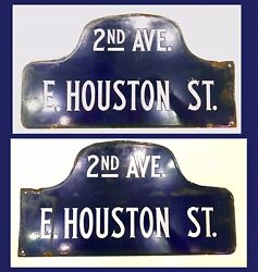 1920s East Village New York NYC Houston Street / 2nd Ave Sign Humpback Porcelain