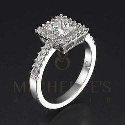 Accented Diamond Engagement Ring 2.05 Ct F Si2 Princess Cut White Gold