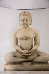 Jain Saint At Least 150 Year Old Hand-carved Marble Mahavira Statue From India