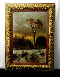 European School, Oil Painting On Tin, Early 20th C. - Man Walking Dog By Unknown