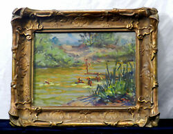 1933 Arroyo Near Rock Crusher Pool By Unknown Oil Painting On Board