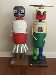 TWO Folk Art Mixed Media Metal Plastic Sculptures Mechanical GIRL BOY Signed
