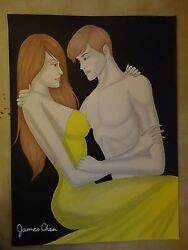 ORIGINAL 30'' X 22' WATER COLOR PAINTING  '' LOVERS '' BY JAMES CHEN