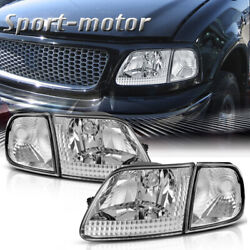 For Ford 97-03 F150 97-02 Expedition Chrome Housing Headlights W/ Clear Corner