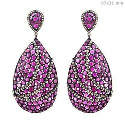 17.9ct Ruby Silver Pave Diamond Dangle Earrings 14k Gold Vintage Style Jewelry