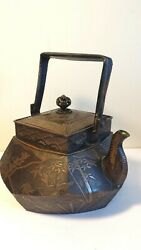Stunning Antique Japanese Mix Metal Copper And Bronze Teapot