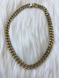 Signed Coro Pegasus Des Pat Pending Chunky Silvertone Necklace Curb Link
