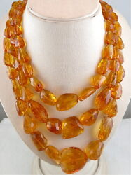 Natural Citrine Faceted Beads Tumble 3 Line 1720 Carats Gemstone Silver Necklace