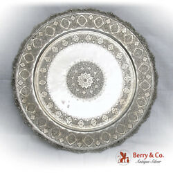 Persian Ornate Large Round Tray Engraved Patterns Applied Rim 900 Silver 1940