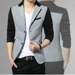 Menand039s Fashion Color Stitching Blazer Suit Slim Fit Two Button Casual Jacket