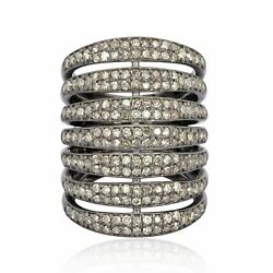 Pave Diamond 925 Sterling Silver Layer Women's Ring Christmas Gift Jewelry