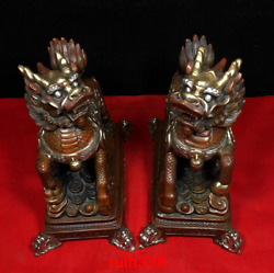 8 A Pair China Antique Pure Copper Gold Plating Silver Attract Money Kylin