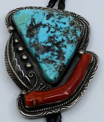 Large Native American Navajo Sterling Silver Large Bolo Tie Early Robert Becenti