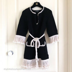 CHANEL 18C BELTED TUNIC MINI KNIT DRESS WITH FRINGE 36 FR