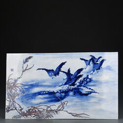 22 Republic Of China Antique Porcelain Blue White Red Painting Wild Goose Plate