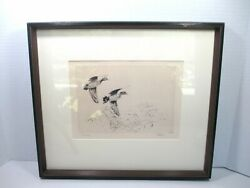 Rare Richard E Bishop Greenwings Duck Etching Framed Matted Signed Hunting Art