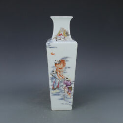 14 China Old Porcelain Qianlong Gilt Famille Rose Eight Immortals Square Vase