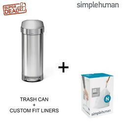 Simplehuman 45 L / 12 Gal Slim Step Trash Can Brushed Stainless Steel