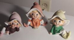 Homco Pixie Elves Figurines Vintage 1970and039s Home Interior Lot Of 3 Excellent Cond