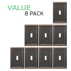 Value 8-pack Toggle Wall Plate Light Switch Wallplate, Oil Rubbed Bronze