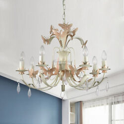 LED Child's Room Crystal Iron Butterfly Pink Chandelie Ceiling Fixture Lampshade