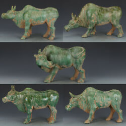 16 Tri Colored Glazed Pottery Antique Porcelain Green Five Cattle Statue