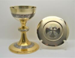 + Nice Older Ornate Chalice And Paten Set + Cup Sterling + 6 3/4 Ht. + B20