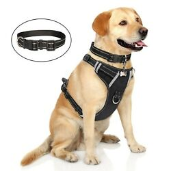 WINSEE Dog Harness No-Pull Pet Harness with Dog Collar & FrontBack Leash Cli...