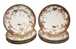 8 Japanese Porcelain Rimmed Soup Bowls, Butterflies And Insects, Meiji Period