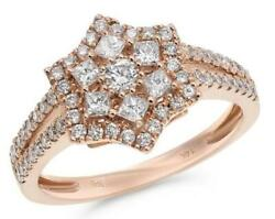 .70ct Diamond 14kt Rose Gold 3d Round And Princess Classic Pave Star Love Ring