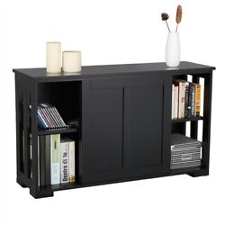 Kitchen Storage Cabinet Buffet Server Table Sideboard Dining Room Wood Black