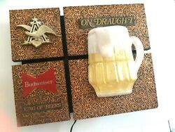Budweiser King Of Beers On Draught Light Fixture Sign With Foaming Beer Mug