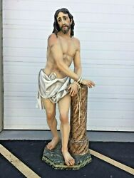 + Large Spanish Statue Of Jesus Christ Being Scourged 71 Ht. + Real Glass Eyes