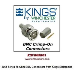 Box Of 250 Kings 2065-2-9 75 Ohm Bnc Connector - Belden 1505a 1506a