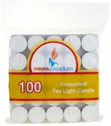 100-Piece Unscented Tea Light Candle in Bag - White - CASE OF 12