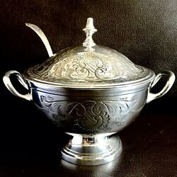Superb Antique Ornate Heavy 850g English Silver Plated 8andrdquo/20cm Tureen And Ladle