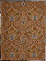 American Crewel Wall Hanging Tapestry 19th Century Dusty Rose, Greens, Turquoise
