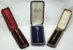 Antique Art Deco Set Of Three Pins 18k Gold Diamonds Rubies And Pearl.