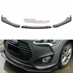3pcs Front Bumper lip Spoiler Cover For Hyundai Veloster 2013-2017 Glossy Black