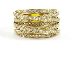 Natural Round Diamond Bypass Criss Cross Cluster Ring 14k Yellow Gold 1.90ct