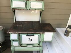 Antique Cast Iron Kitchen Stove Montgomery Wards With 6 Burners And Oven.