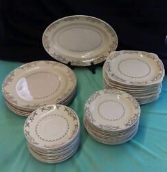 Paden City Pottery L 45 Lot Of Antique Dishes X43 Plates And Platter Gold Trim