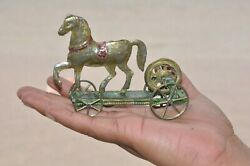 Rare Vintage French A.h Horse On Platform Penny Flywheel Tin Toy