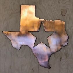 Texas with Star Wall Metal Art with Rustic Copper Finish Hanging 18quot;