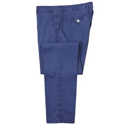 Nwt 475 Marco Pescarolo Slim-fit Washed Navy Cotton-silk Chinos 29 Pants