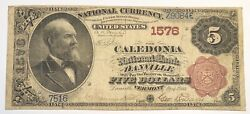 1882 5 Five Dollar The Caledonia National Bank Of Danville Vermont. Ch 1576