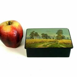 Vintage Russian Lacquered Box W/ Farm Land Pine Tree Hand Painted Signed