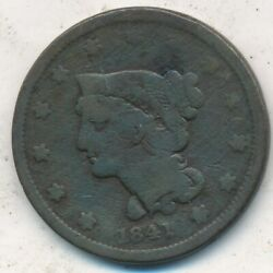 1841 Braided Hair Large Cent-a Nice Circulated Large Cent-ships Free Inv3