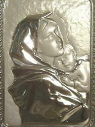 Vintage Artist Signed Hand Made Sterling Silver Standing Plaque- Madonna And Child